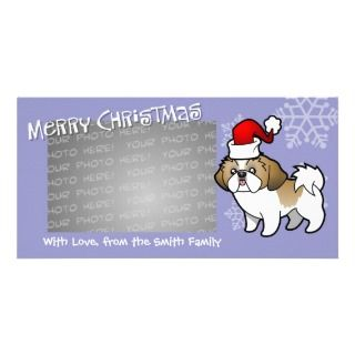 Christmas Shih Tzu (gold parti puppy cut) Custom Photo Card