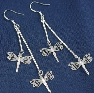 Classical Style Silver Plated Lovely Drop Dragonfly Hook Dangle Charm