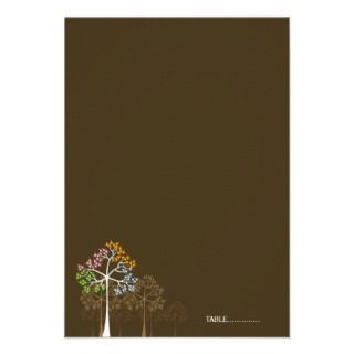 fatfatin Four Seasons Trees Folded Place Card Invitation
