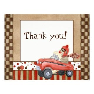Sock Monkey Pedal Car, Thank You Note Cards Announcements