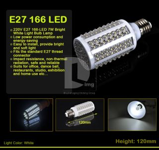 220V E27 166 LED 7W Super Bright White Light Bulb Corn Lamp Energy