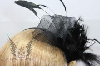 Gothic Lolita Haarreif schwarz Feder Karneval Hochzeit