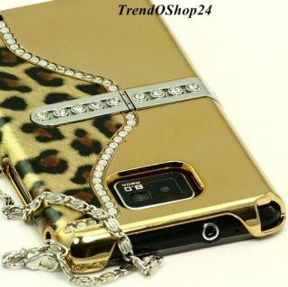 Samsung Galaxy S2 i9100 LEOPARD CHROM GOLD STRASS COVER Case Tasche