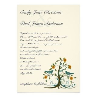 Whimsical Teal Love Bird Tree Wedding Invitation invitation