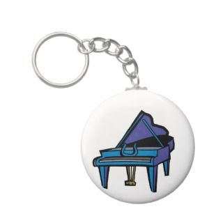 Grand Piano Graphic, Blue Image Keychains