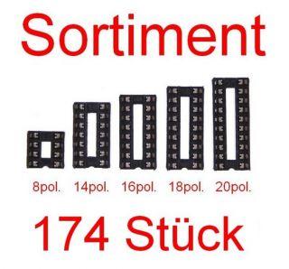 174 Stück IC Sockel Set Sortiment DIL 8pol, 14pol, 16pol, 18pol