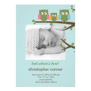 Dotty Owls Baby Boy Birth Announcement