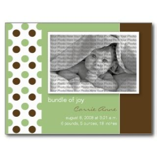 Baby Birth Announcement Sage Green Polka Dots Post Card