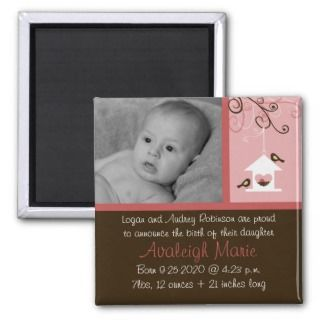 Bird House Baby Girl Birth Announcement Refrigerator Magnet
