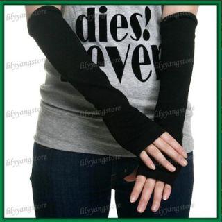 Black Arm Warmer Long Wool Fingerless Gloves Mitten