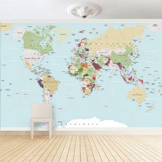 Fototapete Große Weltkarte   Foto Tapete Welt Vlies Karte Kontinent
