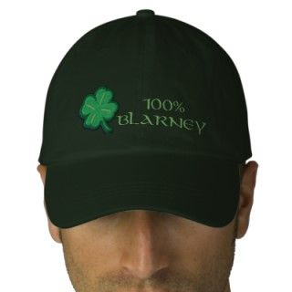 100% Blarney   Funny Irish Ireland Hat with embroidered shamrock in