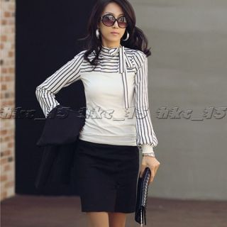 Neu Bowknot Korea Womens Polo Neck Puff Long Sleeve Stripe T Shirt