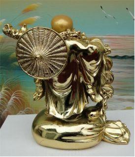 NEU   vergoldete BUDDHA Figur MASSIV   17 cm hoch   NEU