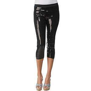 RARE $198 Betsey Johnson BLACK SEQUIN STRETCH CAPRI Leggings Cropped
