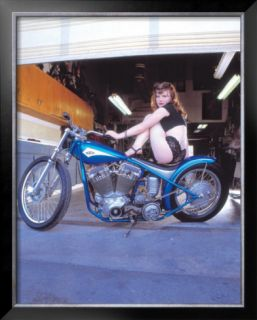 Pin Up Girl: Blue Chopper Framed Giclee Print by David Perry