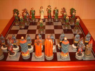 Schach Figuren Robin Hood mit Brett Luxus Pur Chessmen Schachspiel Neu