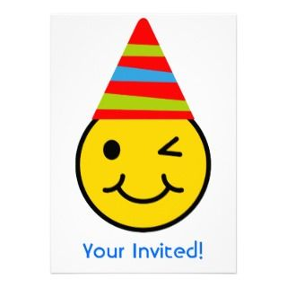 Birthday Party Invitiation Child Smiley Face Custom Announcements
