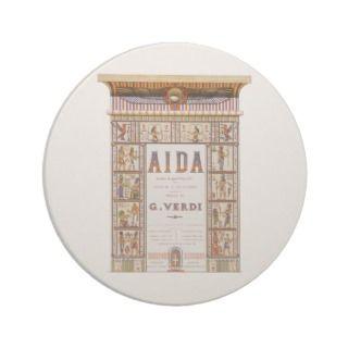Vintage Music, Egyptian Aida Opera by Verdi Beverage Coaster