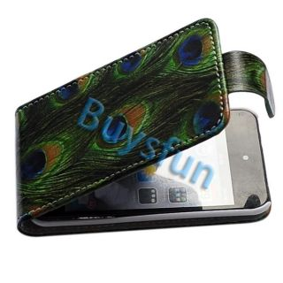Peacock green tail feathers Flip Leather Case Cover for Apple iPod