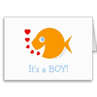 Cute Funny Baby Boy Birth Announcement Greeting Card