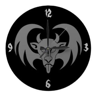 Demon Face with Wings Wall Clock