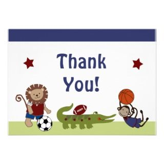 Team/Animals Sports Baby Shower Thank You Personalized Announcements