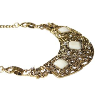 Neu Choker Statement Halskette Kette Vintage Metall Blogger Strass