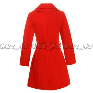 XL XXL Sz Womens Bowknot Wool Warm Winter Long Coat Jacket Trench