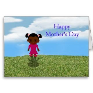 Happy Mothers Day with African American Girl Greeting Cards