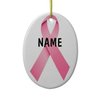 Breast Cancer Pink Ribbon Christmas Ornaments