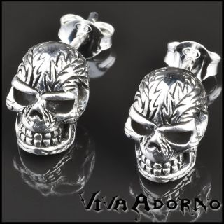 Paar 925 Silber Ohrstecker Totenkopf Ohrringe Gothic Biker Skull