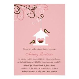 Bird House TWINS Shower Personalized Announcement
