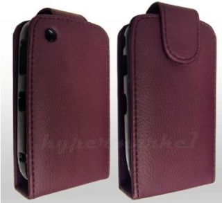 PURPLE LEATHER FLIP CASE FOR BLACKBERRY CURVE 8500