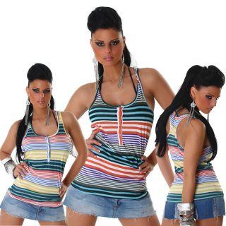 Träger Top gestreift Einheits Größe 36 38 40 42 trendy T Shirt