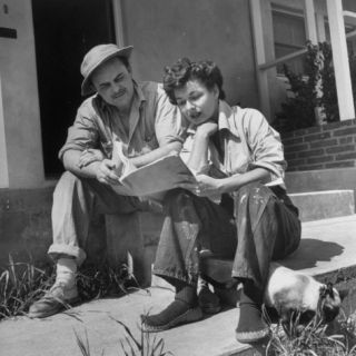 Actress Ruth Roman, Dressed Casually in Paint Smeared Jeans with Friend and Advisor Bill Walsh Premium Photographic Print by Ed Clark
