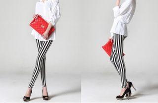 New Fashion Women Chic Look Vertical Stripe Zebra Leggings Tights