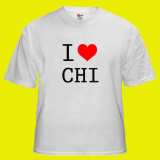 Love Heart CHI Chicago Cool Party T shirt S M L XL