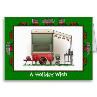 Motor Cycle Camper Trailer Holiday Wish Cards