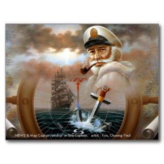NEWS & Map Captain/anchor or Sea Captain Post Cards
