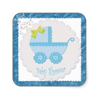 Baby Carriage Its a Boy! Blue Baby Shower Sticker