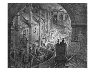 Over London   by Rail, from London, a Pilgrimage, Written by William Blanchard Jerrold Giclee Print by Gustave Dore