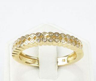 RING 585er Gold 32 Brillanten 585 Gelbgold Halb Memoire Damenring
