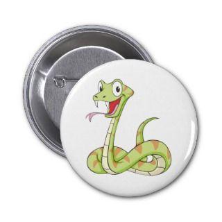 Cute Green Viper Snake Cartoon Shirt Pinback Buttons