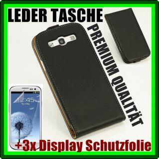 SAMSUNG GALAXY S3 i9300 PREMIUM LEDER TASCHE HÜLLE CASE Etui Schwarz