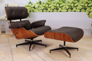 Apex Italian Leather Brown Lounge Chair and Ottoman in Charles Eames
