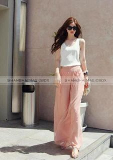 Women Trendy Sweet Chiffon High Waist Wide Leg Palazzo Pants Trousers