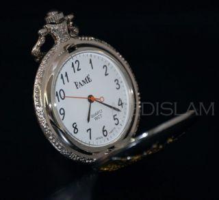 Edle Herren Taschen Uhr Silber Gold Mekka Mekke Allah Islam Kaaba mit