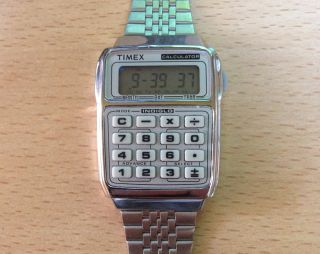 TIMEX CALCULATOR SILVER LUCIUS T2N237 HERRENUHR SILBER Edelstahl