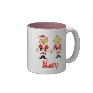 Your Name Here! Custom Letter M Teddy Bear Santas Mug